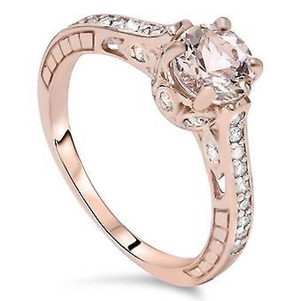 1ct Morganite & Diamond uitstekende verlovingsring 14K Rose Gold