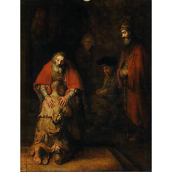 Terugkeer van de verloren zoon, Rembrandt van Rijn, 50x40cm