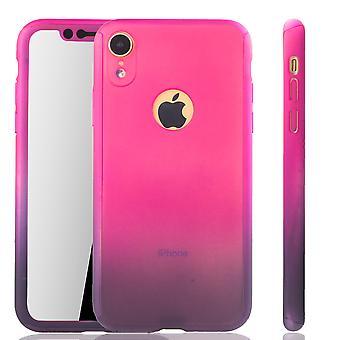 Apple iPhone XR Handy-Hülle Schutz-Case Cover Panzer Schutz Glas Pink / Violett
