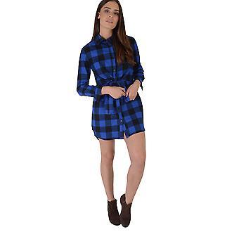 Lovemystyle blau und schwarz Shirtkleid mit Tie Taille überprüft
