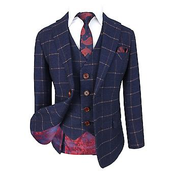 Boys Exclusive Dark Blue Gold Slim Fit Windowpane Check Suit