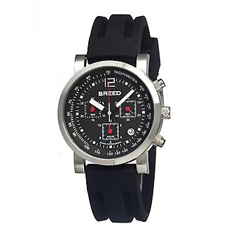 Breed Manning Chronograph Men's Watch w/ Date-Silver/Black