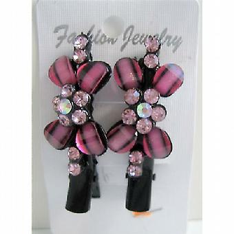 Hår klemme par Vintage Pink blomst Encrusted med Rose Pink krystaller