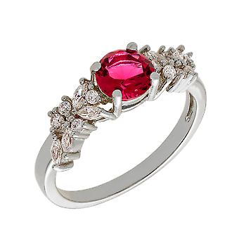Bertha Juliet Collection Women's 18k WG Plated Red Cluster Fashion Ring Size 5