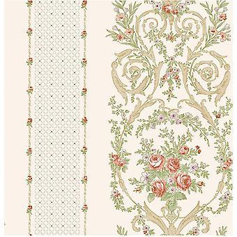 Floral Blatt Creme Tapete lila rosa Metallic geometrische Beige Grün Ornament