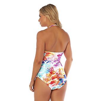 Seaspray SY007787 Women's Paradise hvid Multicolour Floral kostume ét stykke draperet bandeau badedragt