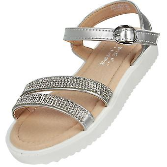 Girls silver sparkly fashion summer sandals