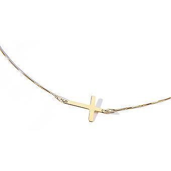 Ah! Sieraden 24K Gold vermeil over Sterling zilveren kruis ketting, gestempeld 925