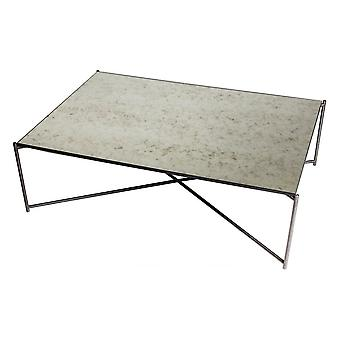 Gillmore Antiqued Glass Rectangular Coffee Table With Gun Metal Cross Base
