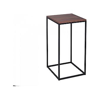 Gillmore Walnut And Black Metal Contemporary Square Lamp Table