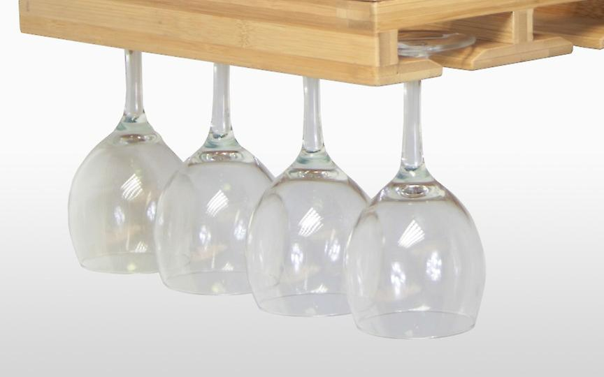 Woodquail Bamboo Hanging Wine Glass Goblets Champaigne Flutes Rack Holder