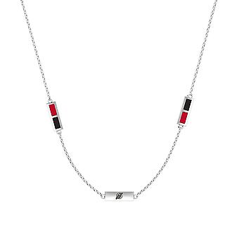 New Jersey Devils Sterling Silver Engraved Triple Station Necklace In Red & Black