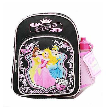 Mini Backpack Disney Princess w/Water Bottle Black School Bag 35395