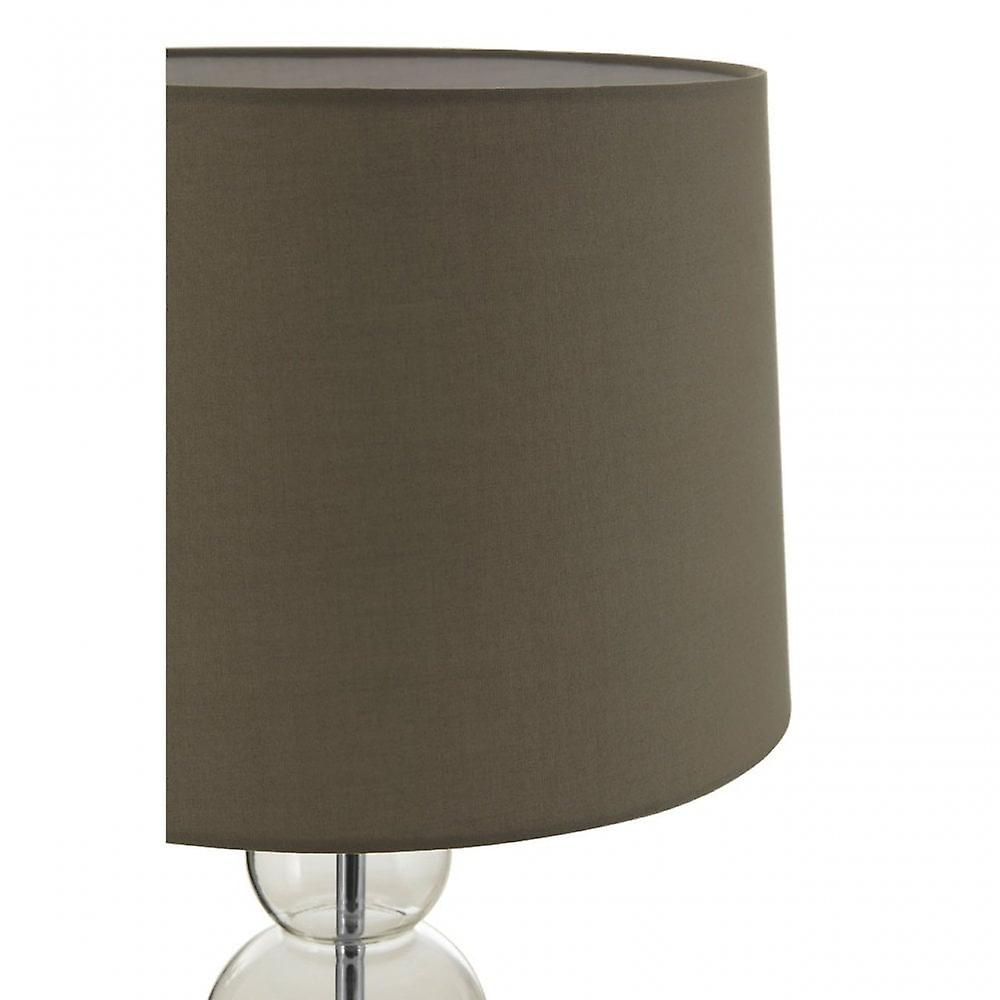 Premier Home Luke Grey Fabric Shade EU Plug Table Lamp, Metal, Grey