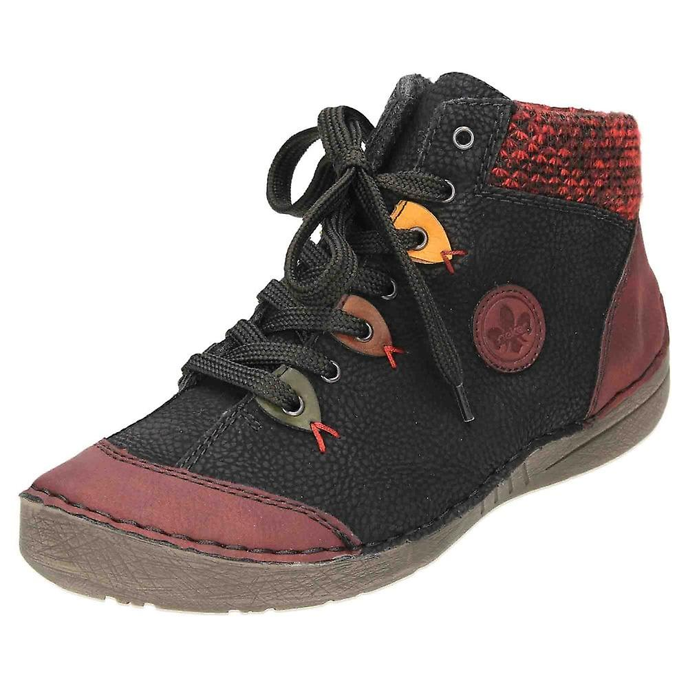 Rieker Lace Up Zip Ankle Boots High Top Shoes 52513-36