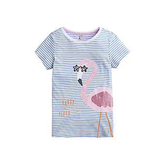 Joules Junior Astra Applikation Tee - blau Streifen Flamingo
