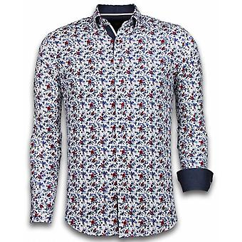 E Shirts - Slim Fit - Painted Flower Pattern - White