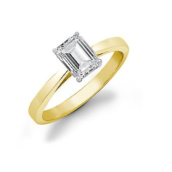 Jewelco London Ladies Solid 18ct Yellow Gold 4 Claw Set Baguette G SI1 0.25ct Diamond Solitaire Engagement Ring 5mm