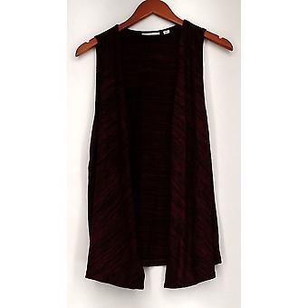 Susan Graver Vest Sweater Tricot Ouvert Avant Bourgogne Rouge A278875