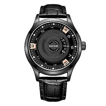 Megir Mens Round Quartz Analogue Watch Black Silver Date Smart Watches Leather