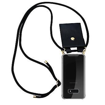 Caixa da cadeia de telefone Cadorabo para samsung Galaxy S10e capa de caixa - capa de colar de silicone com anéis de ouro - cabo de banda de cordão e caso removível caso protetor