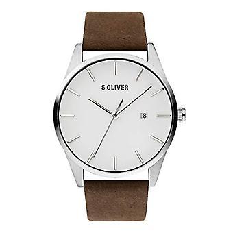 s.Oliver Men's Quartz Analog Clock with SO-3852-LQ Leather Belt