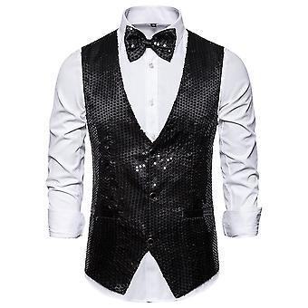 Allthemen Men's lentejuelas V-Neck Banquet Party Vestit Vest
