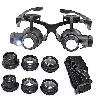 Kabalo 10X 15X 20X 25X LED Magnifier Double Eye Glasses Loupe Lens Jeweler Watch Repair Tool Set