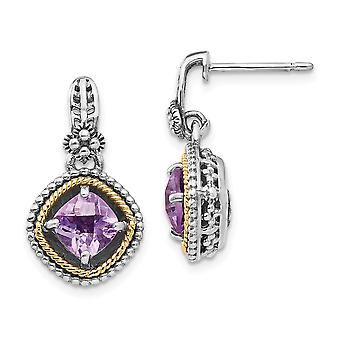 925 Sterling Silver Polished Prong set Post Earrings finish With 14k 1.71Pink Amethyst Earrings Jewelry Gifts for Women
