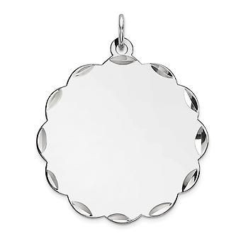 925 Sterling Silver Rh plt Engraveable Polished Front Satin Back Disc Charm Pendant Necklace Jewelry Gifts for Women