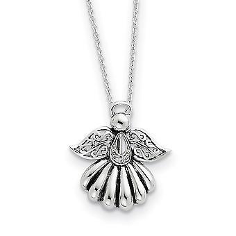 925 Prata esterlina Anel de Primavera Polido CZ Zircônia Cícria Simulado Diamante Religioso Guardião Anjo Colar 18 Polegadas J