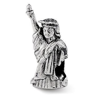 925 plata esterlina pulido reflexiones estatua de la libertad abalorios encanto colgante collar regalos de joyería para las mujeres
