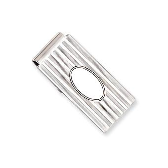 Solid Engravable Polished back Silver plated and Rhodium Horizontal Lines Hinged Money Clip Jewelry Gifts for Men