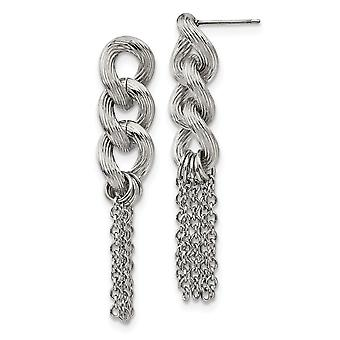 Stainless Steel Oval Chain Post Long Drop Dangle Earrings Jewelry Gifts for Women