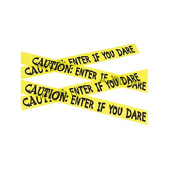 Caution Enter If You Dare Tape, Yellow & Black, 6m / 236in Fancy Dress Accessory
