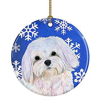 Maltese Winter Snowflakes Holiday Christmas Ceramic Ornament SS4620