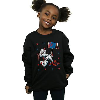 DC Comics Girls Harley Quinn Playing Card Suit Sweatshirt