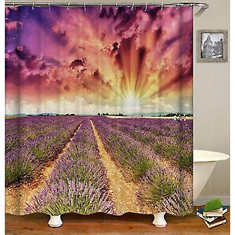 Sunset Over Lavender Field Shower Curtain