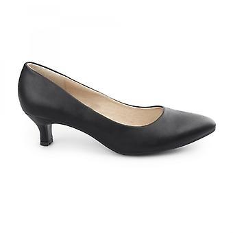 Comfort Plus Texas Ladies Kitten Heel Court Shoes Matte Black