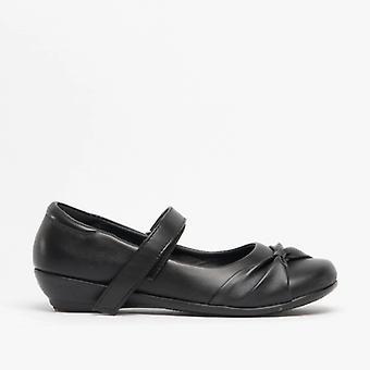 US Brass Marlin Girls School Shoes Black