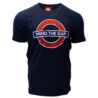 Licensed tfl™101mtgn unisex mind the gap™ underground london t shirt navy