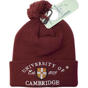 Licensed cambridge university™ pom pom beanie ski hat maroon colour