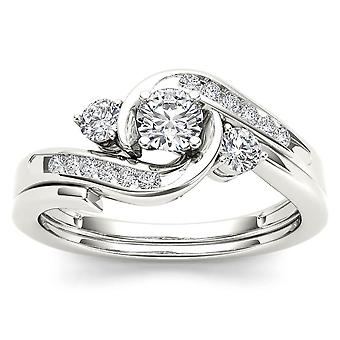 IGI Certified 10k WHITE Gold 0.50 Ct Diamond Three Stone Engagement Ring Set