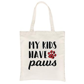 My Kids Have Paws Natural Canvas Tote For Mother's Day Dog Mom Gift