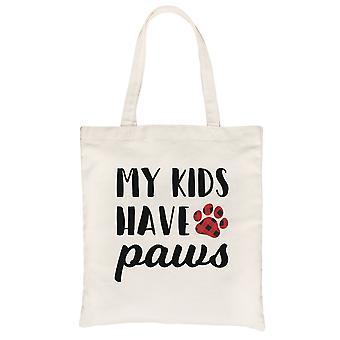 I miei figli hanno zampe di tela naturale tote per madre 's giorno cane mamma regalo