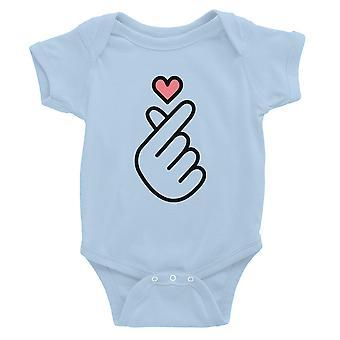 365 painaminen sormi sydän vauva Bodysuit lahja taivas sininen vauva poika vauva Jumpsuit