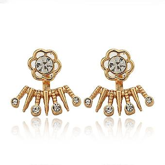 22k gold plated sunflower double sided earrings