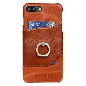 Pour iPhone 8 PLUS,7 PLUS Case,FS Ring Holder Genuine Leather Cover,Brown