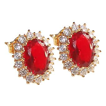Ah! Jewellery Women's Eye Catching 18kt Genuine Gold Filled Studs With A Ruby Red Diamond Centre.