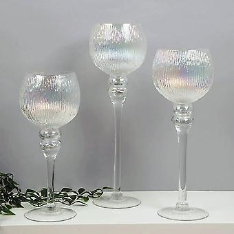 Hestia Set Of 3 Clear Glass Goblet Style Candleholders